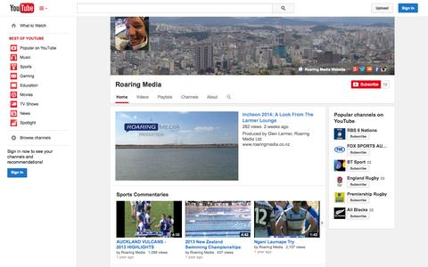 Screenshot of YouTube Page youtube.com - Roaring Media  - YouTube - captured Oct. 25, 2014