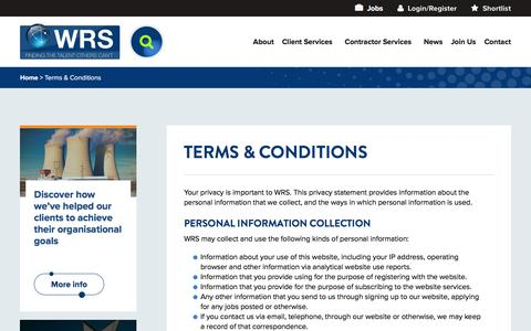 Screenshot of Terms Page worldwide-rs.com - Terms & Conditions | Worldwide Recruitment Solutions (WRS) - captured Oct. 21, 2016