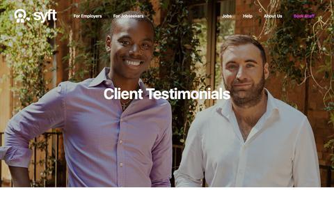 Screenshot of Testimonials Page syftapp.com - Testimonials - Syft - captured Sept. 7, 2018