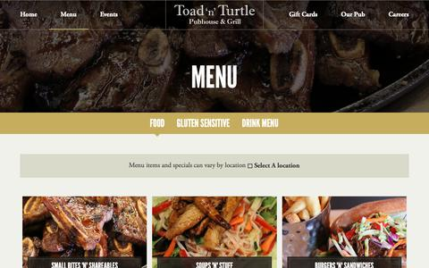 Screenshot of Menu Page toadnturtle.ca - Menu | Toad 'n' Turtle Pubhouse & Grill - captured Oct. 18, 2018
