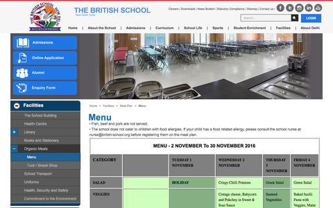 Screenshot of Menu Page british-school.org - Menu Of The Month Meal Plan Of The British School, New Delhi - captured Nov. 23, 2016