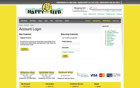 Screenshot of Login Page happyfeed.co.za - Account Login - captured July 16, 2018