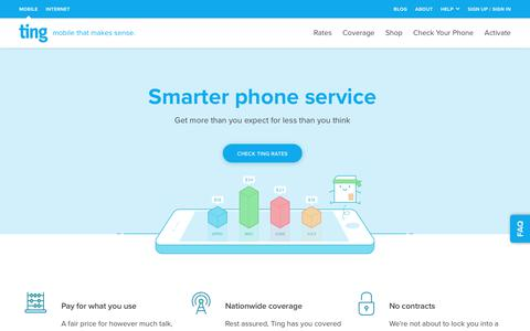 Screenshot of Home Page ting.com - Ting is a smarter way to do mobile. Check Your Savings. - captured July 22, 2018