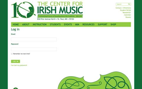 Screenshot of Login Page centerforirishmusic.org - Log in » The Center for Irish Music » dedicated to handing down the tradition - captured Oct. 7, 2014