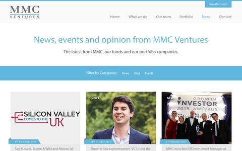 Screenshot of Press Page mmcventures.com - News - MMC Ventures - captured Nov. 17, 2015