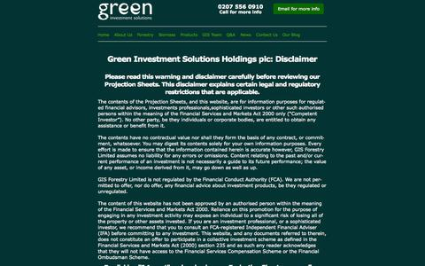 Screenshot of Products Page greenis.co.uk - Disclaimer: Green Investment Solutions - captured Nov. 5, 2014