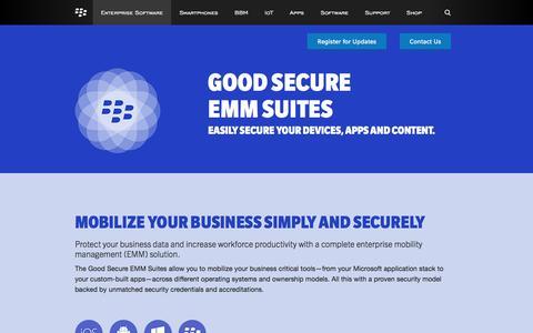 Screenshot of Landing Page blackberry.com - Secure EMM & MDM – Good Secure EMM Suites by BlackBerry - United States - captured Feb. 23, 2016