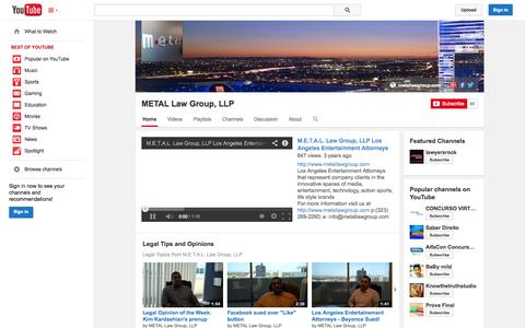 Screenshot of YouTube Page youtube.com - METAL Law Group, LLP  - YouTube - captured Oct. 23, 2014