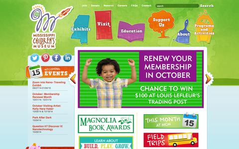 Screenshot of Home Page Hours Page mississippichildrensmuseum.com - Mississippi Children's Museum - captured Oct. 9, 2014