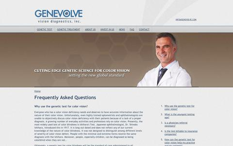 Screenshot of FAQ Page genevolve.com - Frequently Asked Questions – color vision genetic test pediatrics, test infants color vision, insurance billing, DNA sample, billable, DNA results - captured Sept. 11, 2014