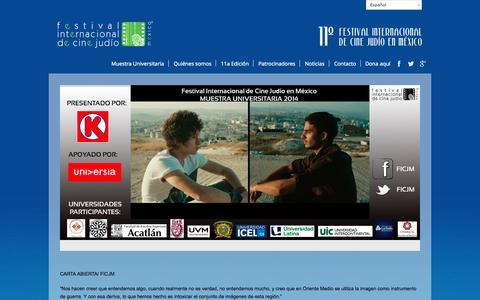 Screenshot of Home Page ficj.org - Festival Internacional de Cine Judío | FICJ - captured Oct. 5, 2014
