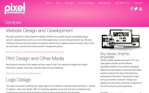 Screenshot of Services Page pixelsweatshop.com - Services | Pixel Sweatshop - captured May 17, 2017