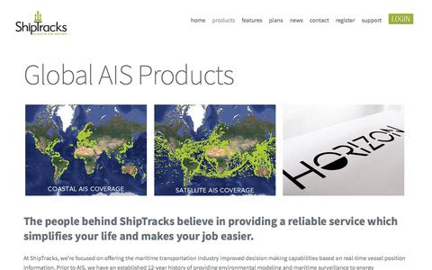Screenshot of Products Page shiptracks.com - AIS Products - ShipTracks - captured May 27, 2017