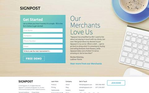 Screenshot of Landing Page signpost.com - Signpost | CRM Software - captured March 14, 2016