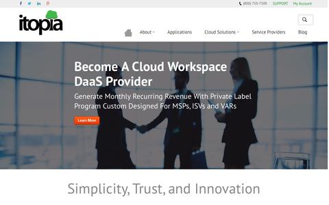 Screenshot of Home Page itopia.us - Cloud Computing Provider - Hosted Business Applications | itopia - captured Sept. 7, 2015
