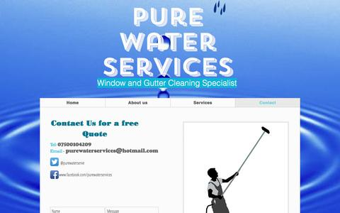 Screenshot of Contact Page purewaterservices.net - Pure Water Services | Contact - captured Nov. 15, 2016