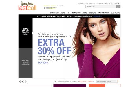 Screenshot of Home Page lastcall.com - Designer Handbags, Dresses, Shoes, Jewelry & Accessories at Neiman Marcus Last Call - captured Sept. 18, 2014