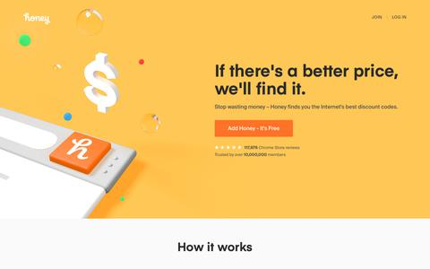 Screenshot of Home Page joinhoney.com - Automatic Coupons, Promo Codes, and Deals | Honey - captured Dec. 19, 2018