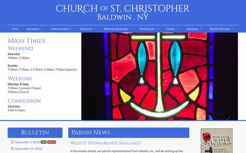 Screenshot of Home Page stchris.com - Church of St. Christopher, Baldwin, NY - captured Dec. 4, 2018