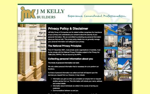 Screenshot of Privacy Page jmk.com.au - Privacy Policy & Disclaimer | JM Kelly Builders - captured Oct. 3, 2014