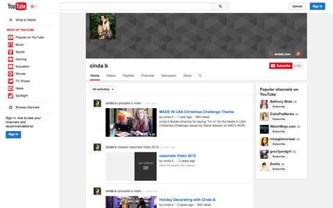 Screenshot of YouTube Page youtube.com - cinda b  - YouTube - captured Oct. 27, 2014
