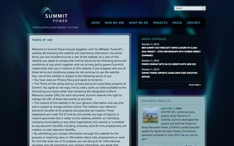 Screenshot of Terms Page summitpower.com - Terms of Use | Summit Power - captured Oct. 7, 2014