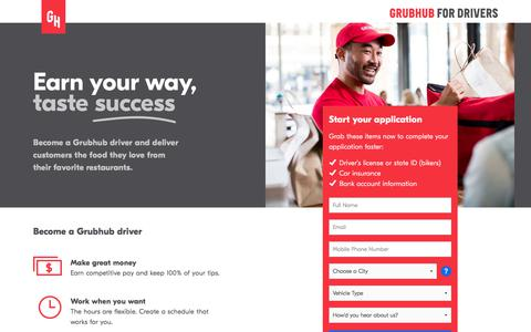 Screenshot of grubhub.com - Get Paid to Drive Your Car as a Grubhub Delivery Partner - captured Jan. 9, 2018