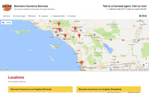 Screenshot of Locations Page boomersinsuranceservices.com - Boomers Insurance — Locations - captured July 29, 2016