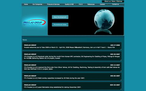 Screenshot of Press Page procladgroup.com - Welcome to Proclad Group website - captured Oct. 5, 2014