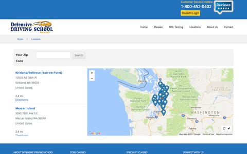 Screenshot of Locations Page driving-school.com - Locations | Defensive Driving School - captured July 5, 2017