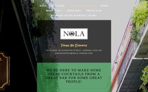 Screenshot of Menu Page nola-london.com - Cocktail O'Clock — NOLA - captured Oct. 7, 2014