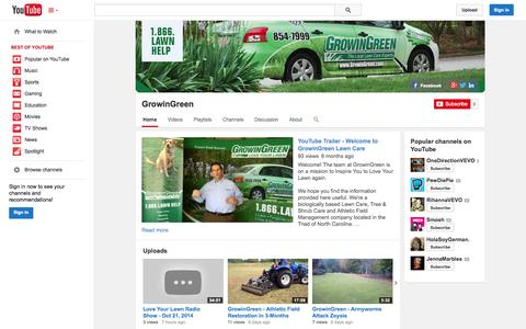 Screenshot of YouTube Page youtube.com - GrowinGreen  - YouTube - captured Oct. 23, 2014