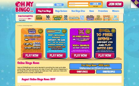 Screenshot of Press Page ohmybingo.com - Online Bingo News from OhMyBingo | New Bingo Sites Updates - captured Aug. 20, 2017