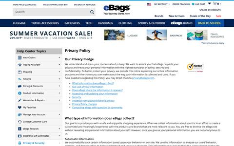 Screenshot of Privacy Page ebags.com - Privacy Policy - eBags.com - captured July 18, 2016