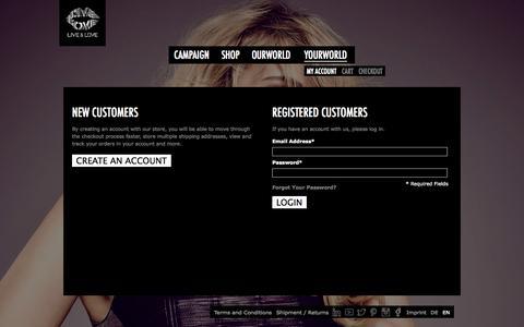 Screenshot of Login Page live-and-love.com - Live & Love  Customer Login - captured Oct. 1, 2014