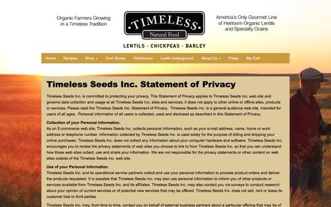 Screenshot of Privacy Page timelessfood.com - Privacy - Timeless Natural Food - captured Feb. 16, 2016