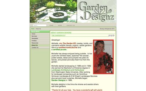 Screenshot of About Page garden-designz.com - garden-designz.com - About Us - captured Sept. 29, 2014