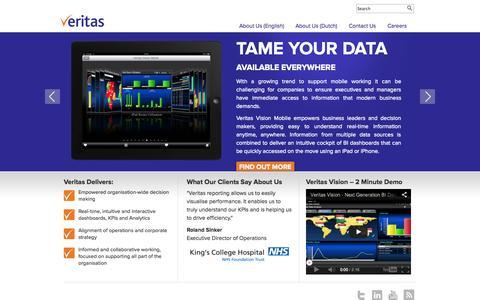 Screenshot of Home Page veritas-bi.com - Veritas BI - Dashboards, Performance Management, KPI, Analytics, Business Intelligence, Reporting - captured Oct. 9, 2014