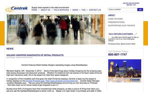 Screenshot of Press Page centrekds.com - News - captured Oct. 2, 2014