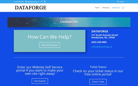 Screenshot of Contact Page dataforge.us - Contact Us | Dataforge - captured Aug. 5, 2018