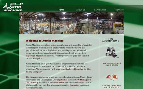 Screenshot of Home Page austinmachine.net - Welcome to Austin Machine - Austin MachineAustin Machine | Located in O'Fallon, Missouri - captured Sept. 30, 2014
