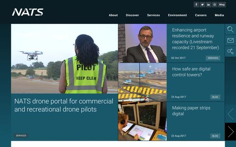 Screenshot of Home Page nats.aero - NATS - A global leader in air traffic control and airport performance - captured Oct. 17, 2017