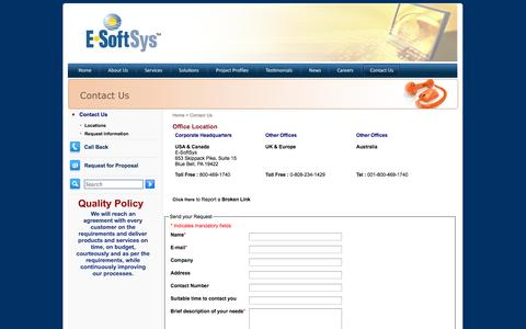 Screenshot of Contact Page Locations Page e-softsys.com - Contact us for E-commerce Web Development, Software for Tran loading, Multimedia Development, Custom Software Development and Offshore E-Commerce Consulting in Philadelphia - captured Oct. 23, 2014
