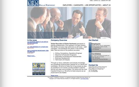 Screenshot of Home Page grndallasnw.com - GRN - Global Recruiters of Dallas Northwest - captured Oct. 10, 2014