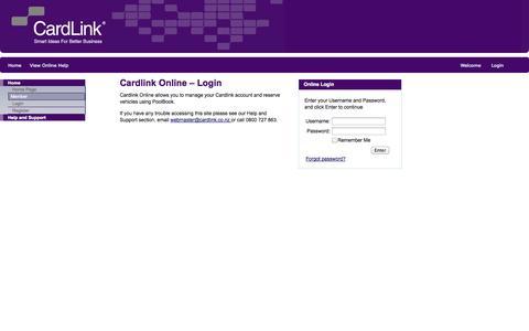Screenshot of Login Page cardlink.co.nz - Cardlink Online - Login - captured Nov. 1, 2014