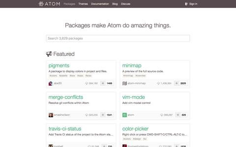Screenshot of atom.io - Packages - captured March 19, 2016