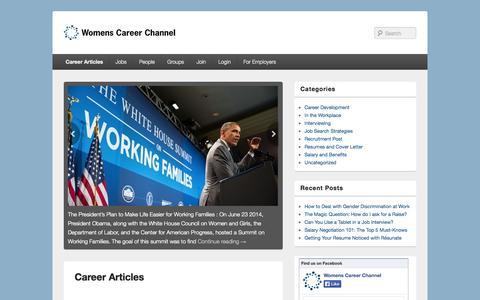 Screenshot of Blog womenscareerchannel.com - Career Articles   WCC Blog - captured Sept. 23, 2014