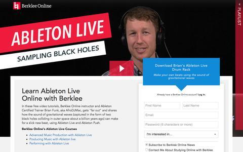 Screenshot of Landing Page berklee.edu - Study Ableton Live with Berklee Online - captured Oct. 20, 2016