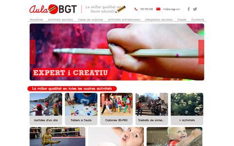 Screenshot of Home Page aulabgt.com - Aula BGT | La millor qualitat en lleure educatiu - captured July 27, 2016