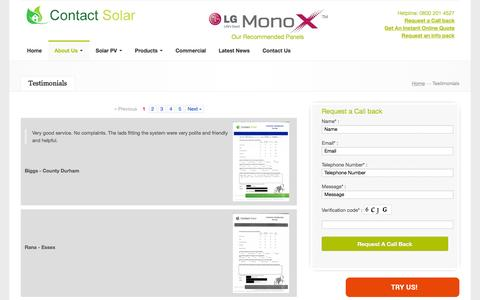 Screenshot of Testimonials Page contact-solar.co.uk - Testimonials | Contact-Solar - captured May 28, 2016